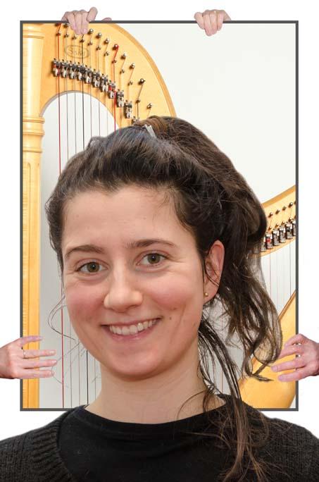 meisje docent harp